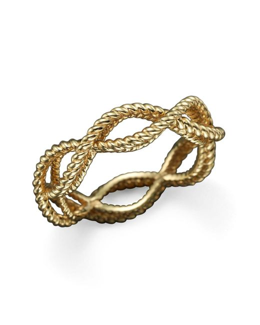 Roberto Coin | Metallic 18k Yellow Gold Single Row Twisted Ring | Lyst