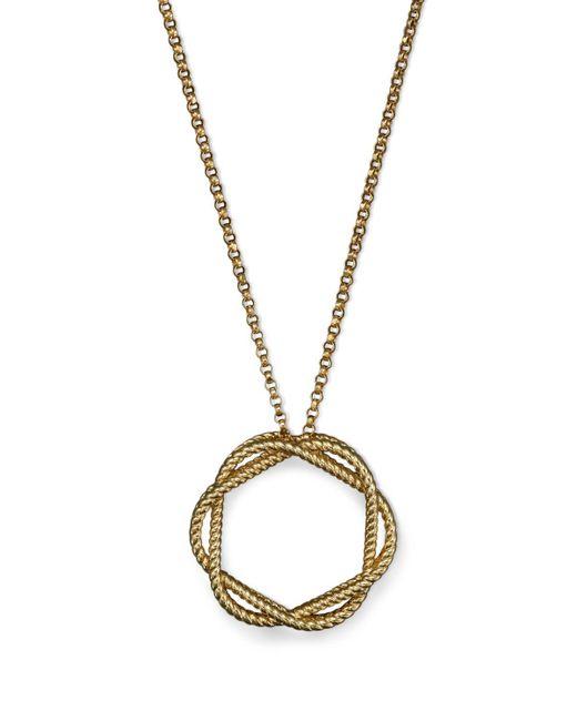 "Roberto Coin | Metallic 18k Yellow Gold Medium Twisted Circle Pendant Necklace, 16"" | Lyst"