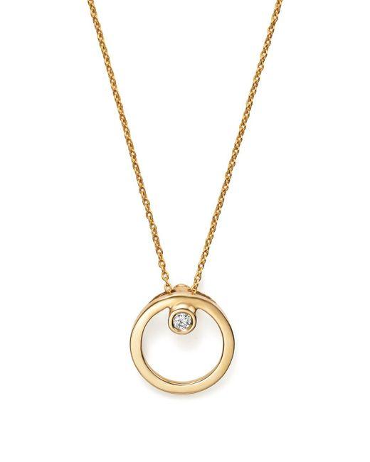 "Roberto Coin | Metallic 18k Yellow Gold Small Circle With Diamond Pendant Necklace, 16"" | Lyst"