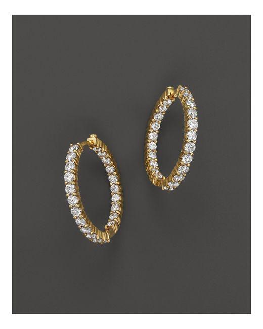 Roberto Coin | Metallic 18k Yellow Gold Diamond Inside Out Hoop Earrings | Lyst