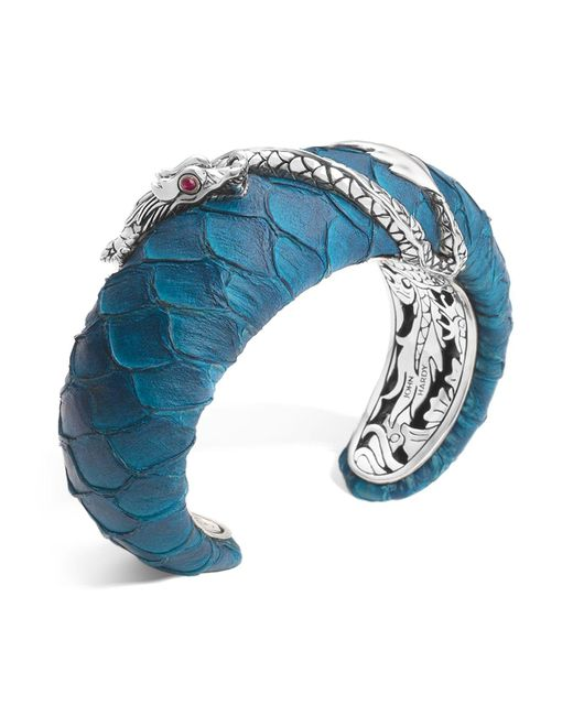 John Hardy | Blue Naga Silver Medium Squeeze Cuff With Turquoise Color Exotic Skin With African Ruby Eyes | Lyst