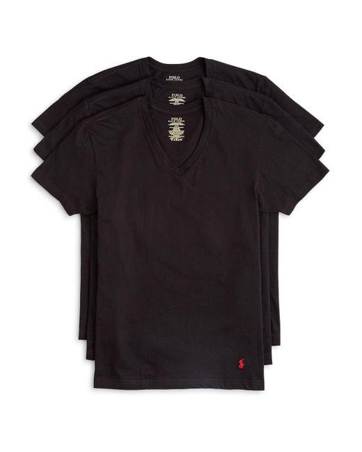 Polo Ralph Lauren   Black 3-pack V-neck T-shirts, White for Men   Lyst