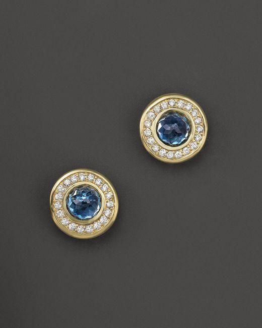 Ippolita | 18k Lollipop Mini Stud Earrings In London Blue Topaz With Diamonds | Lyst