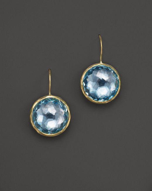 Ippolita | 18k Lollipop Medium Round Earrings In Blue Topaz | Lyst
