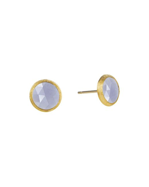 Marco Bicego | Metallic 18k Yellow Gold Engraved Jaipur Stud Earrings With Chalcedony | Lyst