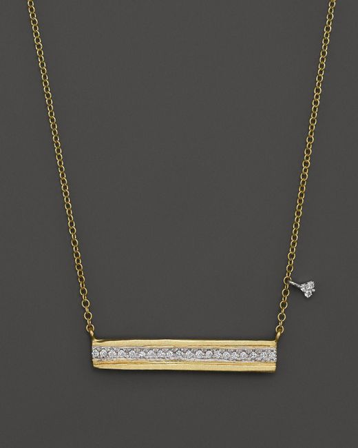 "Meira T   Metallic 14k Yellow Gold Horizontal Bar Pendant Necklace With Diamonds, 16""   Lyst"