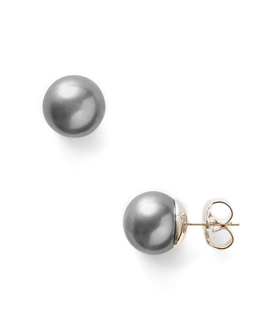 Majorica | Metallic Women's 11mm Round Simulated Pearl Stud Earrings | Lyst