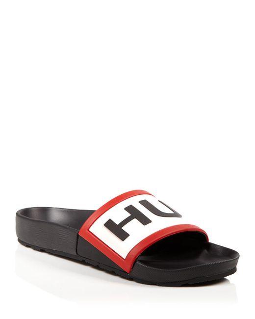 Hunter   Pink Logo Pool Slide Sandals   Lyst