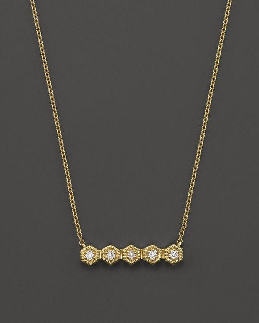 "Dana Rebecca   Metallic 14k Yellow Gold Mini Hexagon Bar Necklace With Diamonds, 16""   Lyst"