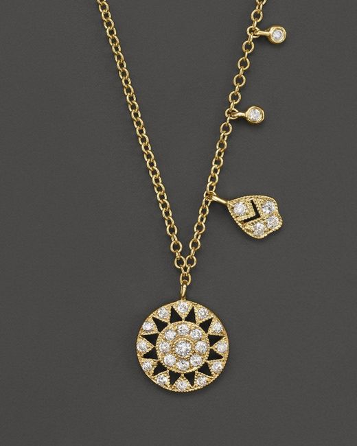"""Meira T   Metallic 14k Yellow Gold Antique Pendant Necklace With Diamonds, 16""""   Lyst"""