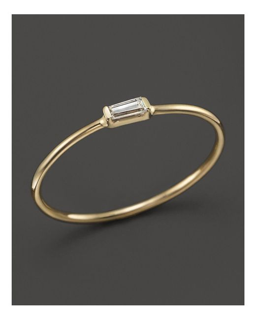 Zoe Chicco | Metallic 14k Yellow Gold Diamond Baguette Ring | Lyst