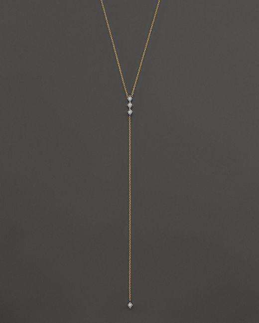 "Zoe Chicco | Metallic Diamond & 14k Yellow Gold Lariat Necklace, 18"" | Lyst"