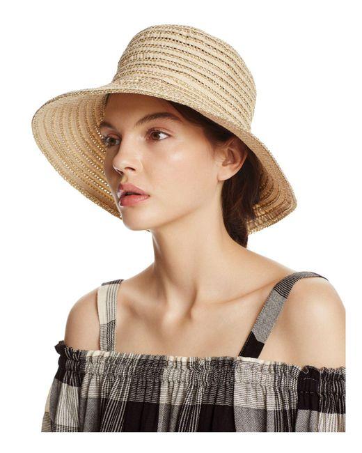 Aqua | Natural Metallic Ribbon Floppy Sun Hat | Lyst