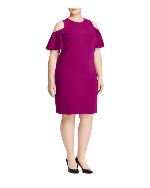 Ralph Lauren   Purple Lauren Plus Cold-shoulder Dress   Lyst