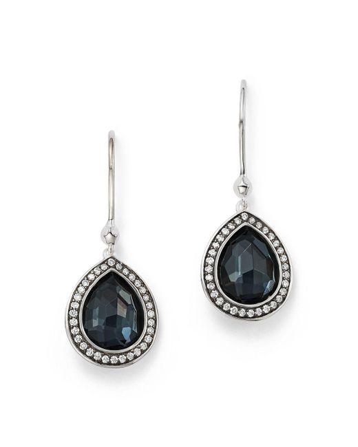Ippolita - Metallic Stella Teardrop Earrings In Hematite Doublet With Diamonds In Sterling Silver - Lyst