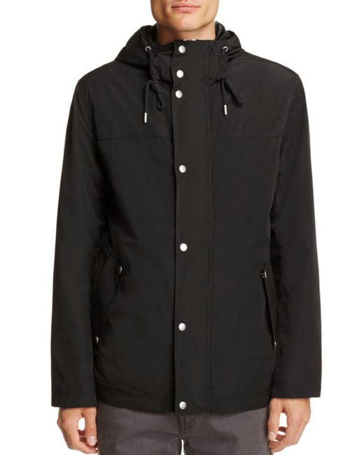Cole Haan - Black Hooded Rain Jacket for Men - Lyst