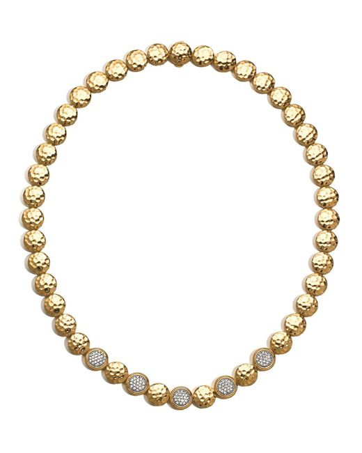 John Hardy | Metallic Palu 18k Gold & Diamond Pave Station Necklace, 18"