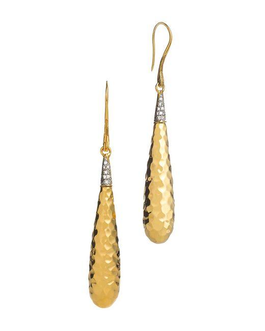John Hardy | Metallic Palu 18k Gold Diamond Pave Drop Earrings, .15 Ct. T.w. | Lyst