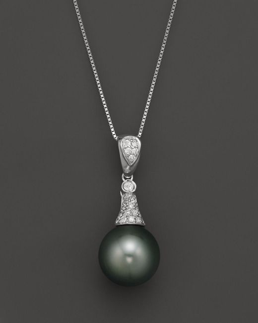 "Bloomingdale's - Black Diamond And Tahitian Pearl Pendant Necklace In 14k White Gold, 18"" - Lyst"