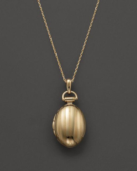 "Monica Rich Kosann   Metallic 18k Yellow Gold Petite Pinstripe Locket Necklace, 17""   Lyst"