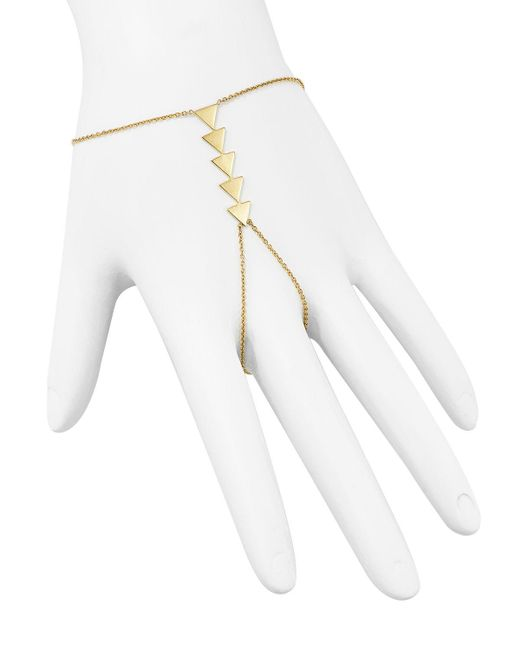 Zoe Chicco   Metallic 14k Yellow Gold Five Triangle Hand Chain   Lyst