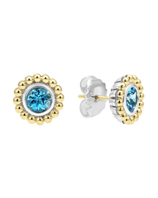 Lagos | Sterling Silver And 18k Gold Stud Earrings With Blue Topaz | Lyst