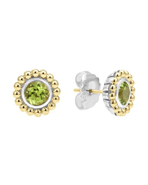 Lagos | Metallic Sterling Silver And 18k Gold Stud Earrings With Peridot | Lyst