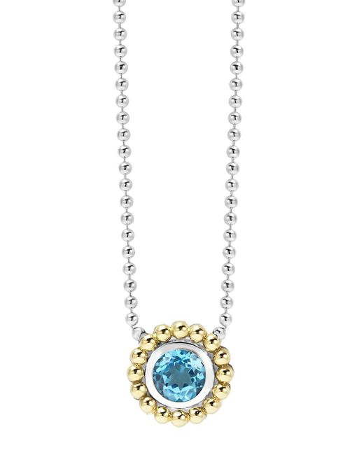 """Lagos   Sterling Silver And 18k Gold Pendant Necklace With Blue Topaz, 16""""   Lyst"""