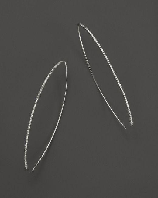 Meira T   14k White Gold Oval Hoop Earrings With Diamonds   Lyst
