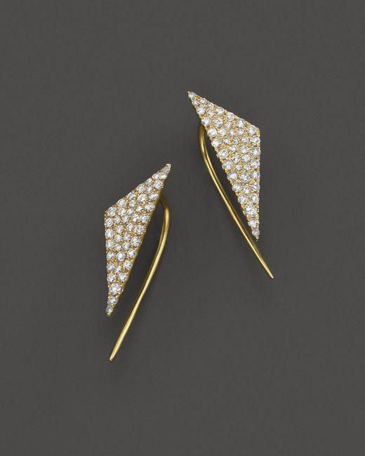 Meira T   Metallic 14k Yellow Gold Diamond Triangle Ear Cuffs   Lyst