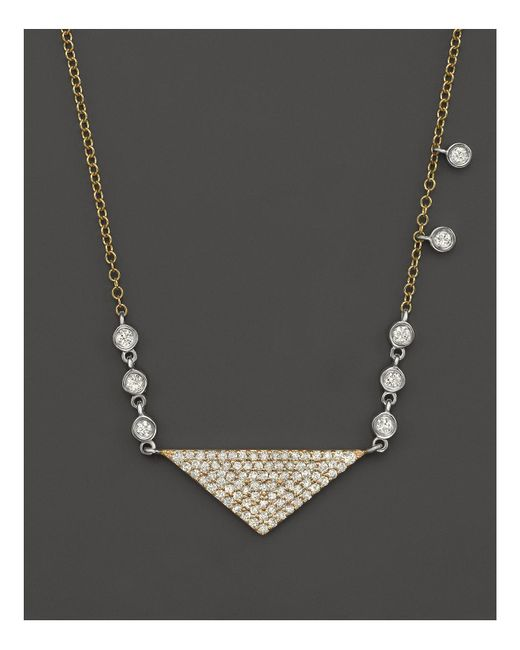 Meira T | Metallic 14k Yellow Gold Triangle Pendant Necklace With Diamonds, 15"