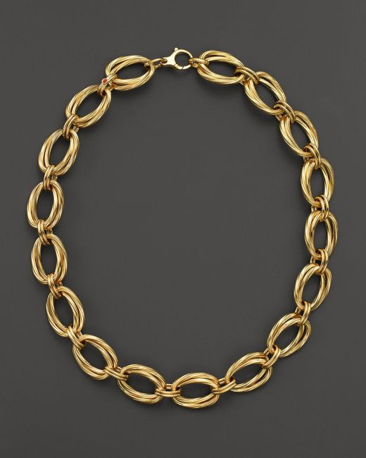 """Roberto Coin   Metallic 18k Yellow Gold Double Oval Necklace, 16""""   Lyst"""