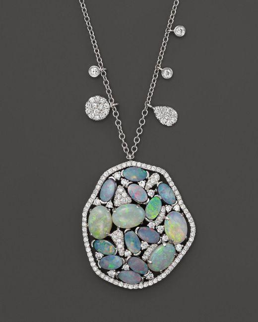 "Meira T | Blue 14k White Gold Mosaic Opal Pendant Necklace, 18"" | Lyst"