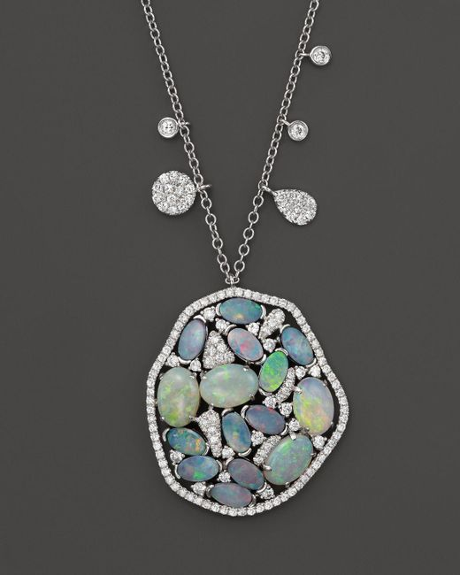 Meira T | Blue 14k White Gold Mosaic Opal Pendant Necklace, 18"