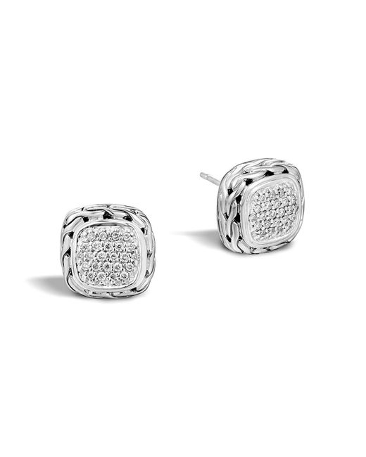 John Hardy | Metallic Classic Chain Stud Square Earrings With Pave Diamonds | Lyst