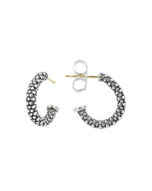 Lagos | Metallic Sterling Silver Caviar J Hoop Earrings | Lyst