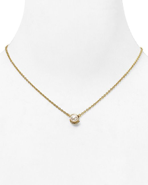 kate spade new york | Metallic Dainty Sparklers Faux Pearl Pendant Necklace, 17"