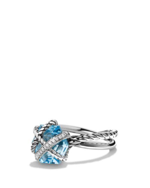 David Yurman - Metallic Petite Cable Wrap Ring With Blue Topaz And Diamonds - Lyst