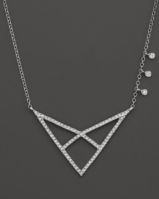 Meira T | Metallic 14k White Gold Open Triangle Necklace With Diamonds, 16"