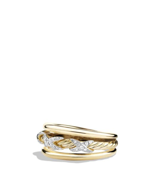 David Yurman | Metallic X Ring With Diamonds In 18k Yellow Gold | Lyst