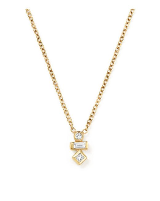 Zoe Chicco | Metallic Baguette And Round Diamond Necklace | Lyst