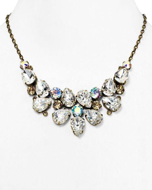 "Sorrelli | Metallic Pear Cluster Bib Necklace, 17"" | Lyst"