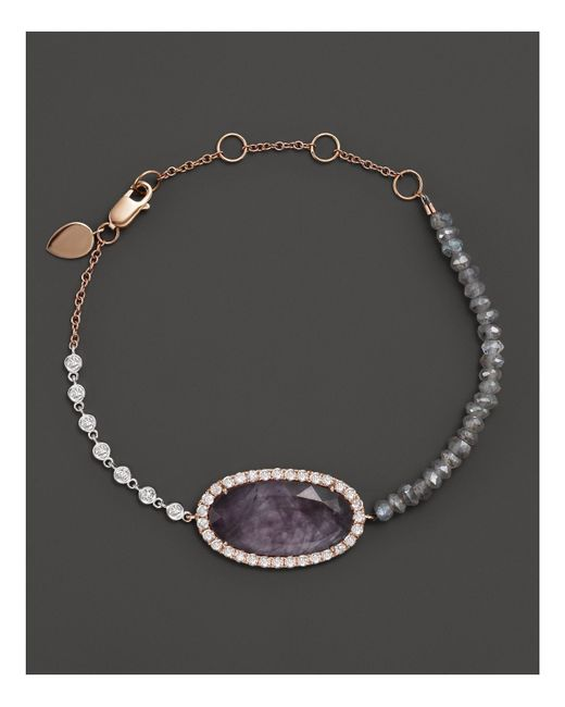 Meira T | Metallic 14k Rose Gold Rough Amethyst Beaded Bracelet With Diamonds | Lyst