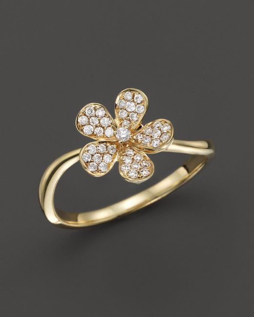 KC Designs | Metallic Small Diamond Flower Ring In 14k Yellow Gold - 100% Exclusive | Lyst