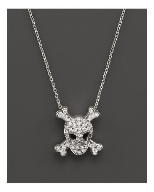 Roberto Coin | Metallic 18k White Gold Diamond Skull & Crossbones Pendant Necklace, 16"