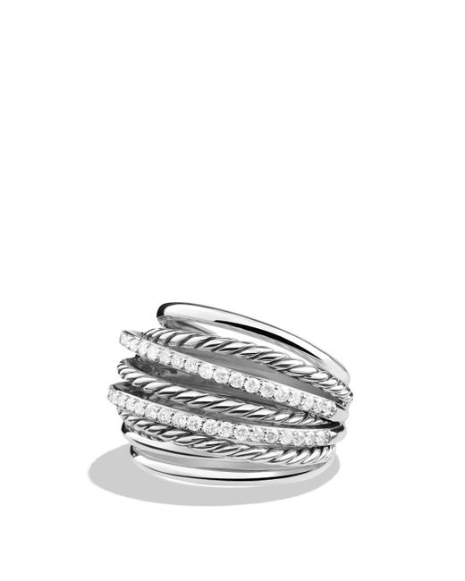 David Yurman | Metallic Crossover Dome Ring With Diamonds | Lyst