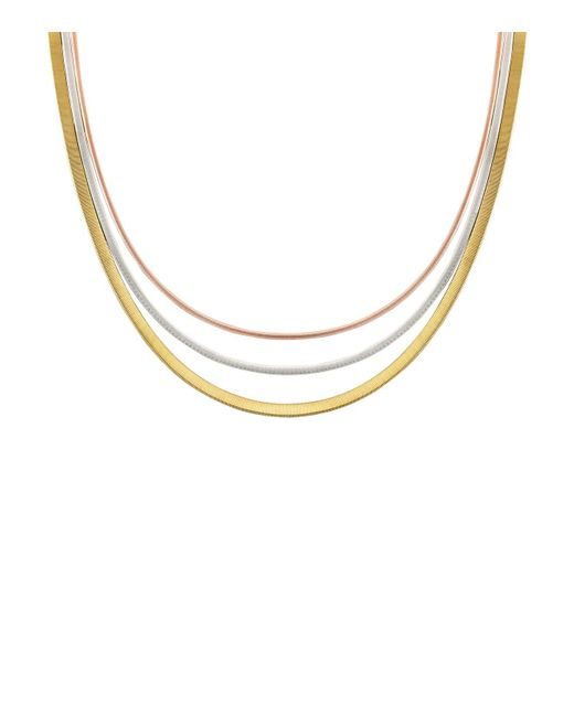 Marco Bicego | Metallic 18k Yellow, Rose & White Gold Goa Collar Necklace, 18"