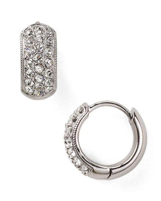 Nadri | Metallic Tiny Pavé Huggie Hoop Earrings | Lyst
