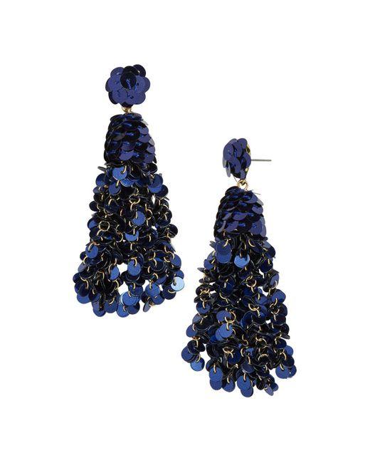 BaubleBar - Blue Sequin Tassel Drop Earrings - Lyst