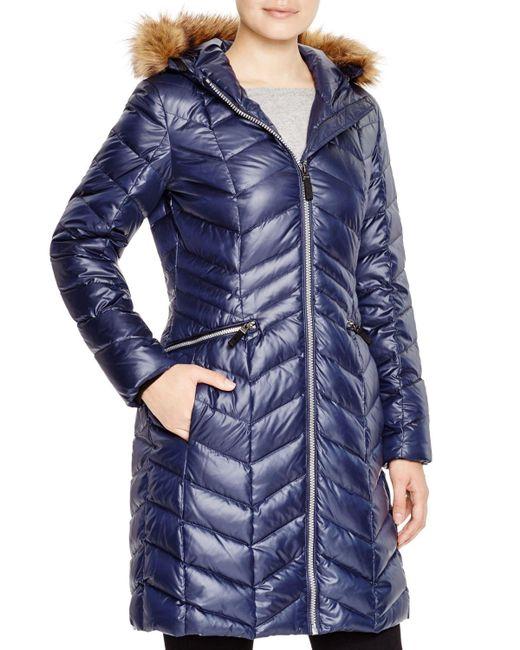 Marc New York | Blue Long Puffer Coat | Lyst